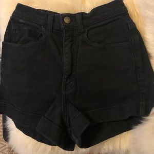 Black American Apparel High Waist Cuff Jean Shorts